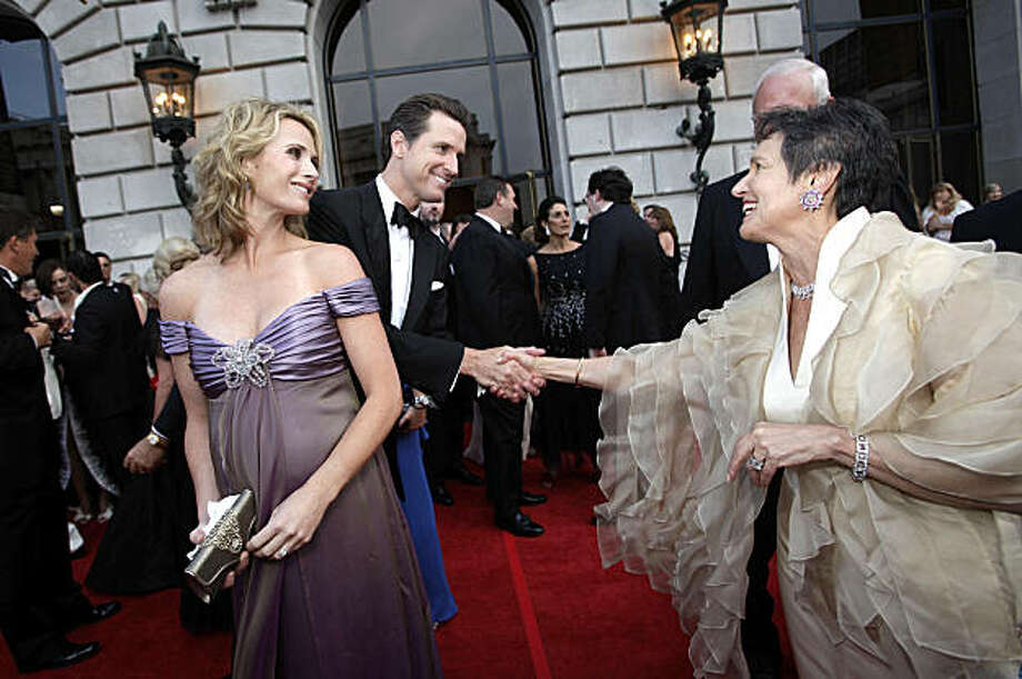 Mayor Gavin Newsom and wife Jennifer Siebel Newsom greets opera members as they attend the Opera Gala during the opening night of the San Francisco Opera at the War Memorial Building on September 11, 2009 in San Francisco, Calif.  Photograph by David Paul Morris / Special to the Chronicle Photo: David Paul Morris, The Chronicle