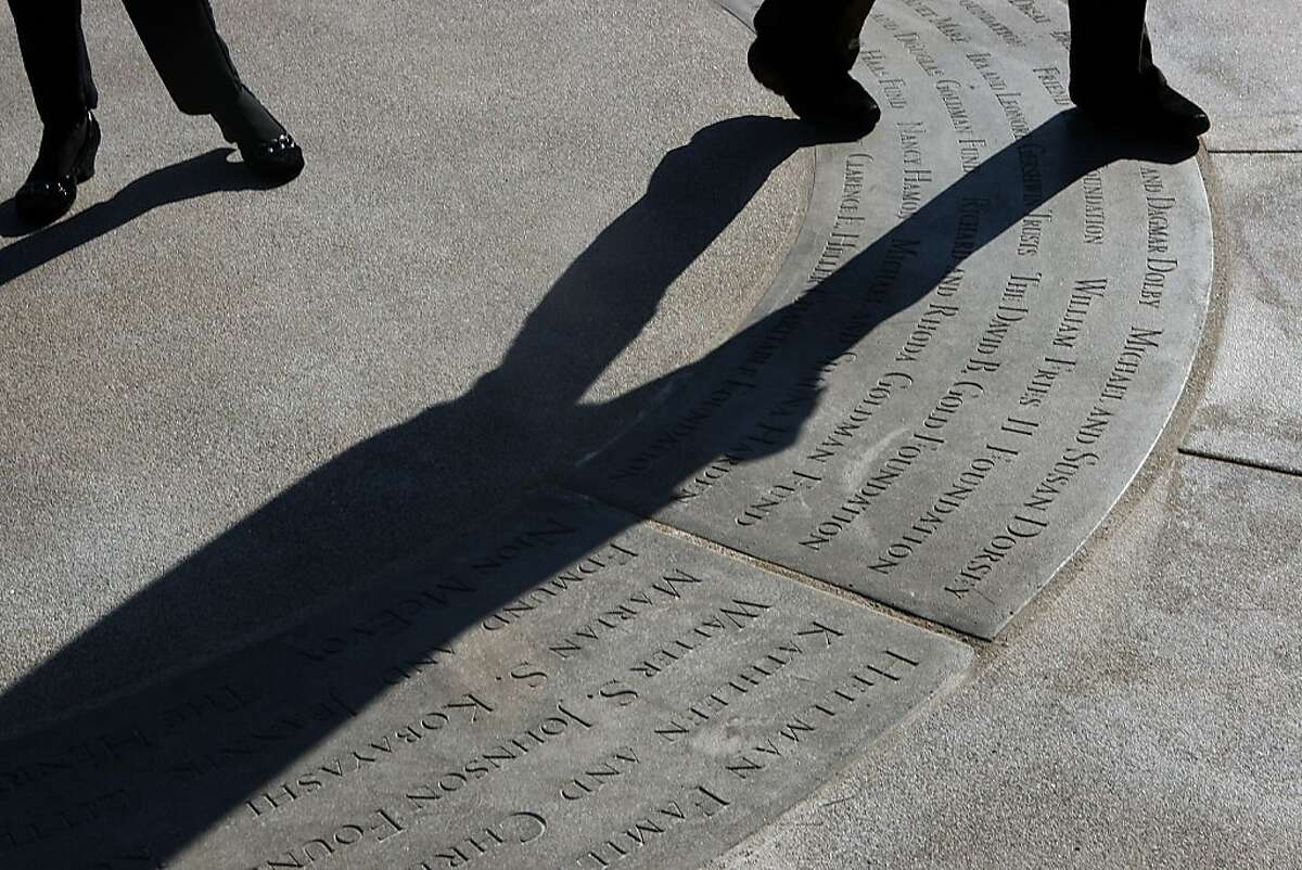 The Palace of Fine Arts in San Francisco, Calif., will soon open to the public after having had it's $21 million dollar renovation. Names of donors engraved on the cement can be seen between the rotunda and the lagoon on Tuesday, January 4, 2011.