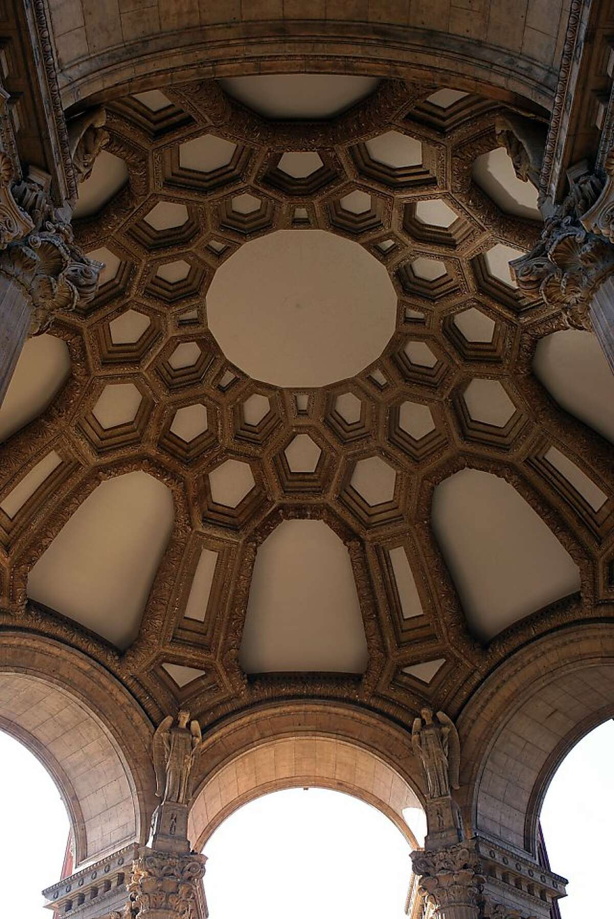 The Palace of Fine Arts in San Francisco, Calif., will soon open to the public after having had it's $21 million dollar renovation. A view of the underside of the dome of the rotunda on Tuesday, January 4, 2011.