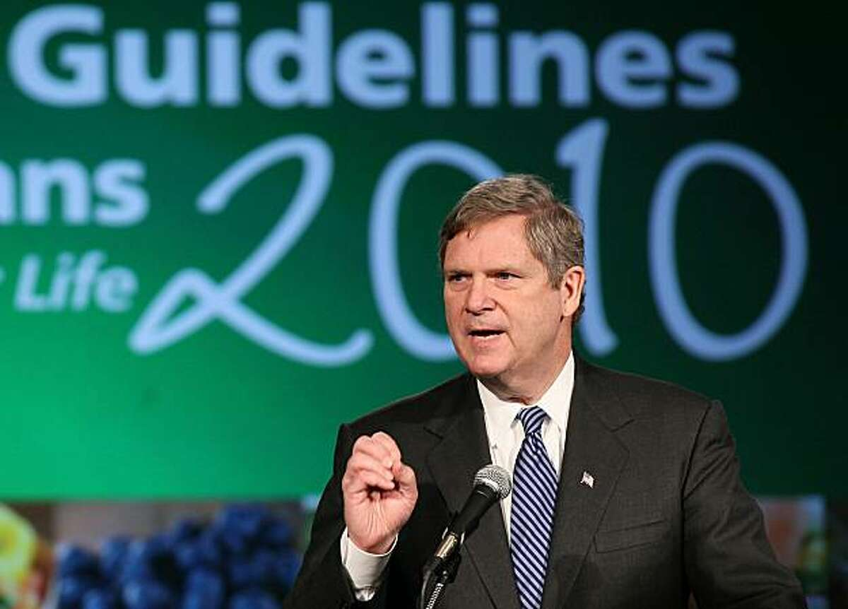 WASHINGTON, DC - JANUARY 31: U.S. Agriculture Secretary Tom Vilsack speaks during a news conference to announce the release of the 2010 Dietary Guidelines for Americans at George Washington University January 31, 2011 in Washington, DC. The USDA held thenews conference to promote proper nutritional guidance and