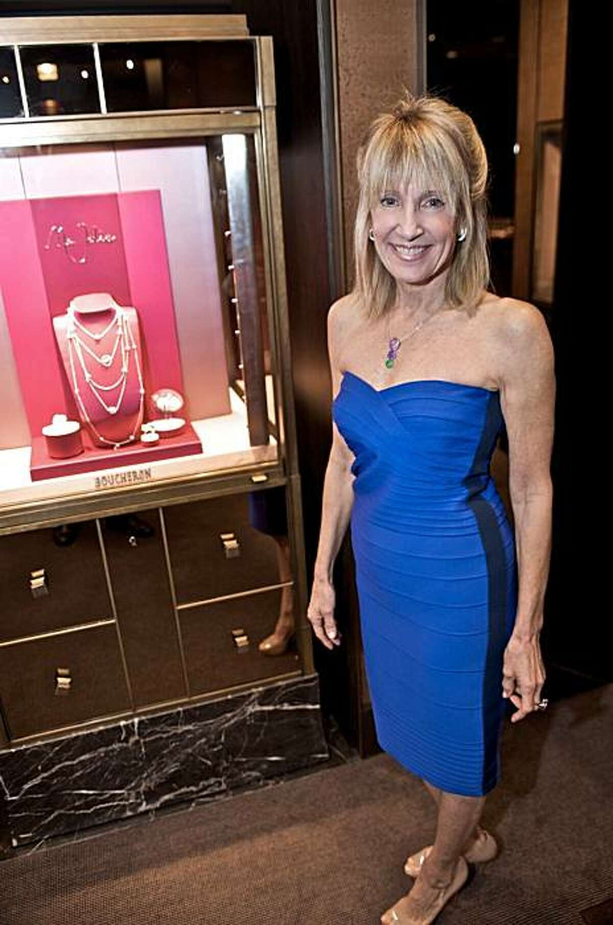 At the Boucheron jewelry boutique on Dec. 14, 2010, clothing designer Julie Panciroli debuted her latest line of made-to-measure upscale apparel. Here we see friend and stylist Sandy Mandel. Sandy Mandel