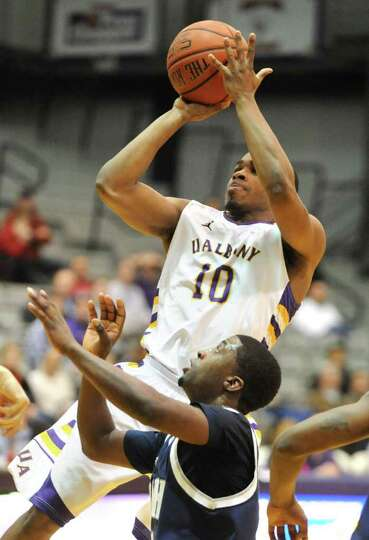 Mike Black of UAlbany shoots the ball during a basketball game against New Hampshire on Wednesday, J