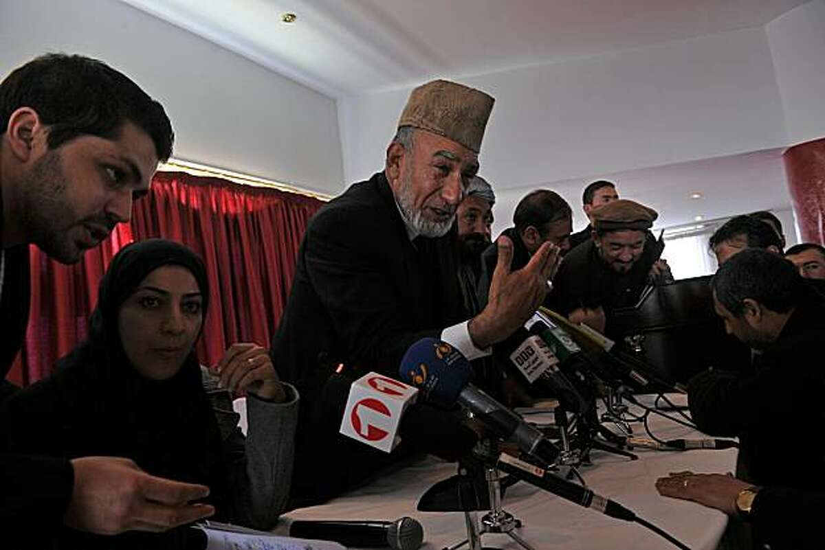 Afghani members of parliament gather in a hotel in Kabul on January 22, 2011 to break the deadlock on whether or not to open Afghanistan's new parliament. Afghan President Hamid Karzai held talks with lawmakers to try to break a deadlock over his plan todelay opening a new parliament after the West said it should meet as soon as possible. Karzai was scheduled to have lunch with a delegation of legislators who have threatened to inaugurate parliament on January 23 without him, in open defiance of his authority.