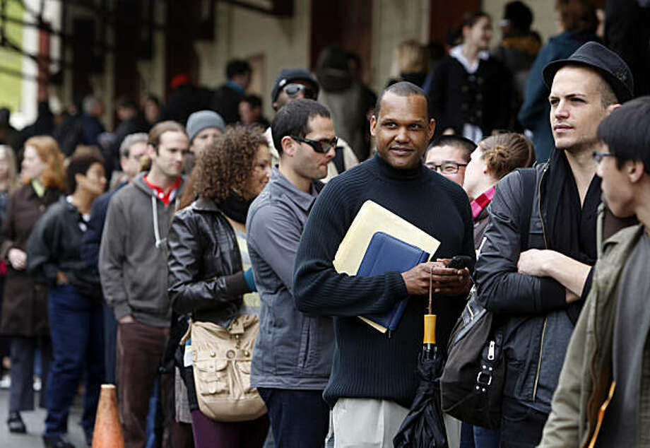 "Hundreds of aspiring actors wait in a long line that snaked through Fort Mason at a casting call Saturday for extras in the upcoming film ""Contagion"" in San Francisco. Photo: Paul Chinn, The Chronicle"