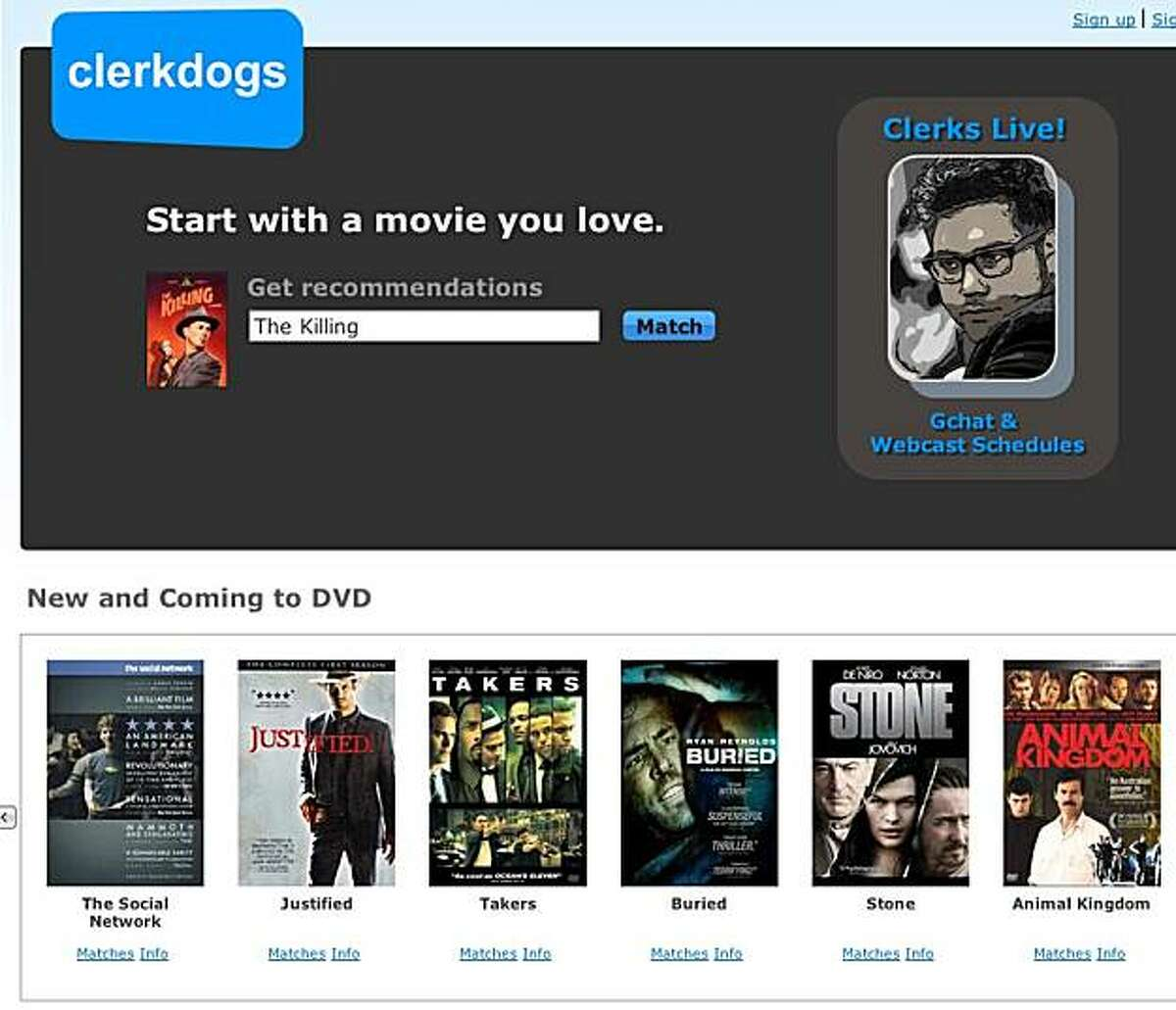 clerkdogs.com is a site that gives access to real person for chatting about videos for rent.