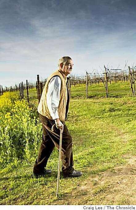 Larry Hyde, a grape grower in the Carneros region on the Napa Valley, out in his vineyards. Photo: Craig Lee, The Chronicle