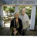 Willys and Betty Peck in front of the theater in the  garden photographed on Wednesday, May 21, 2008  in Saratoga.