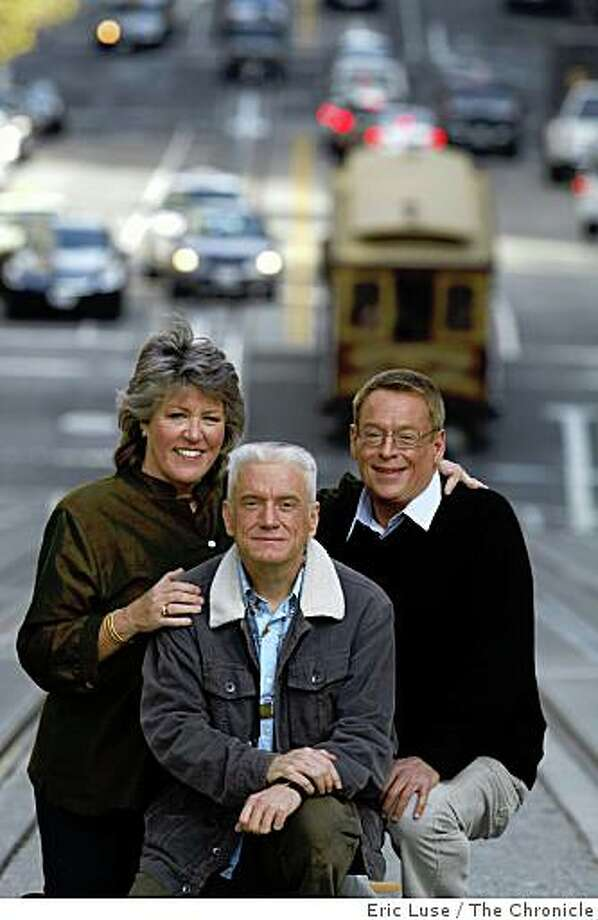Anne Kronenberg, Danny Nicoletta and Cleve Jones along the California Street Cable Car lines in San Francisco  photographed on Monday, October 27, 2008.  Ran on: 11-23-2008Anne Kronenberg (from left), Danny Nicoletta and Cleve Jones, standing along the California Street cable car line, were all friends and colleagues of San Francisco Supervisor Harvey Milk. Photo: Eric Luse, The Chronicle