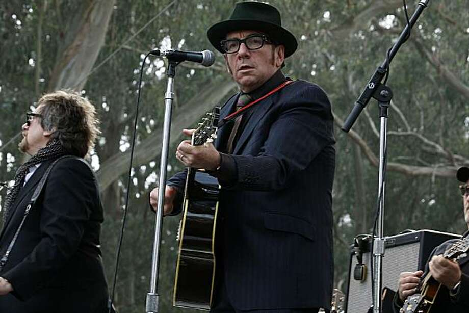 Elvis Costello at the 10th annual Hardly Strictly Bluegrass Festival in San Francisco's Golden Gate Park on Sunday. Photo: Liz Hafalia, The Chronicle