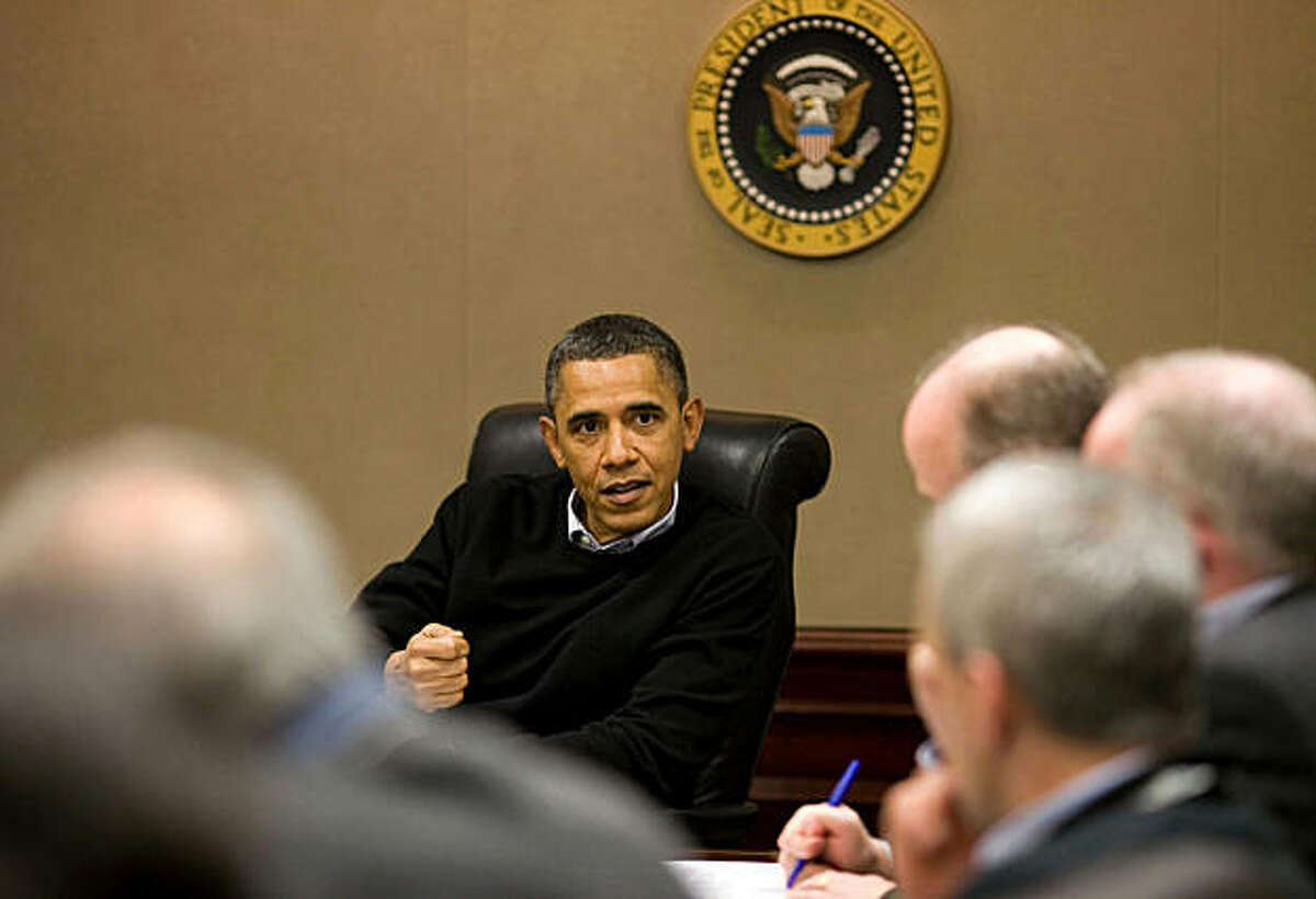 President Barack Obama is briefed on the events in Egypt during a meeting with his national security team in the Situation Room of the White House, in Washington, D.C., on Saturday, January 29, 2011. (Pete Souza/White House/MCT)