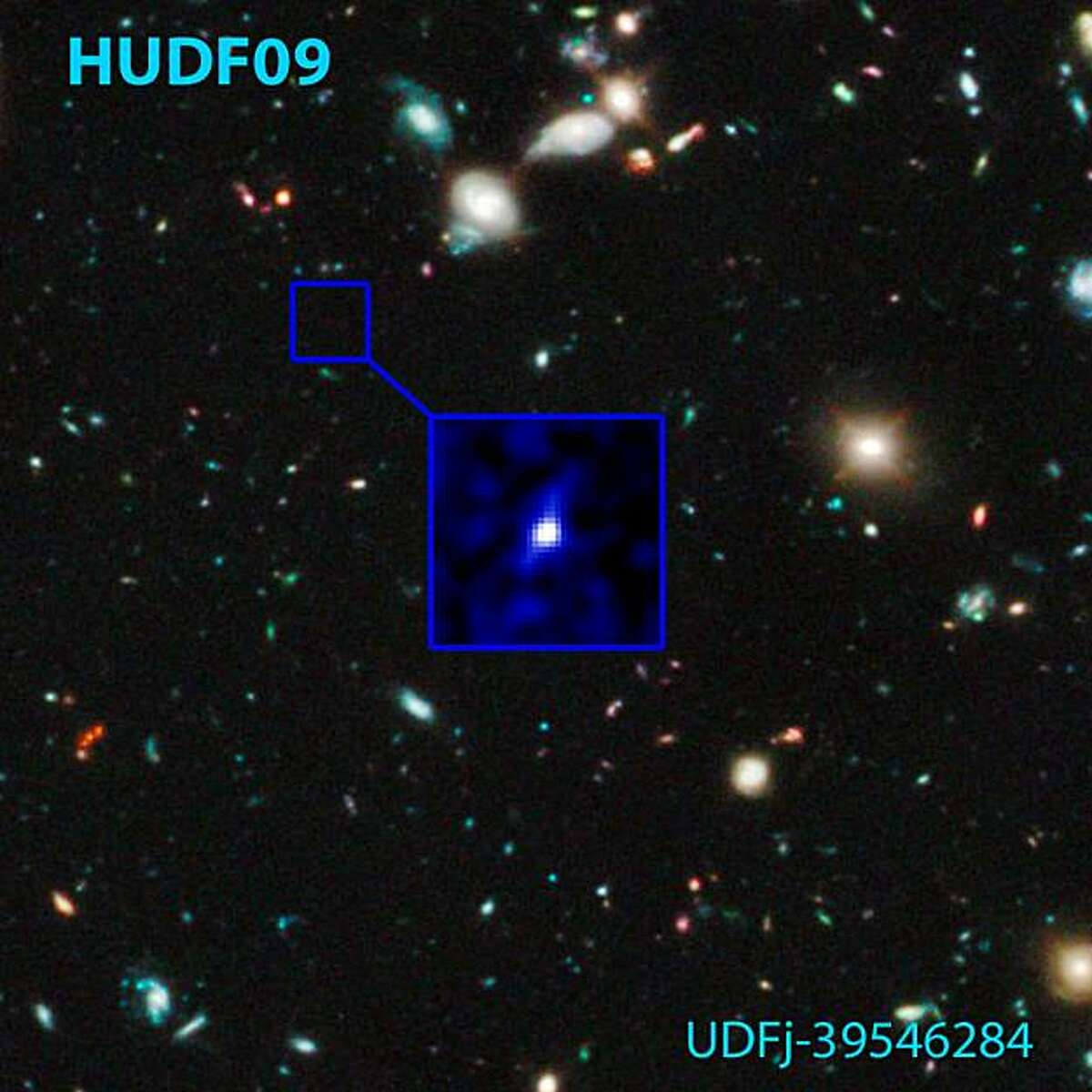 Shown here is an image of the candidate galaxy that existed 480 million years after the Big Bang (the z~10 galaxy) and the position in the Hubble Ultra Deep Field (HUDF) where it was found. This HUDF WFC3/IR field -- called HUDF09 because the WFC3/IR observations began in 2009 -- is the deepest infrared image ever taken of the universe. Astronomers on Wednesday, January 26, 2011 said they had snared an image of what may be the oldest galaxy ever seen, a starry cluster that came into being when the Universe was still a baby.