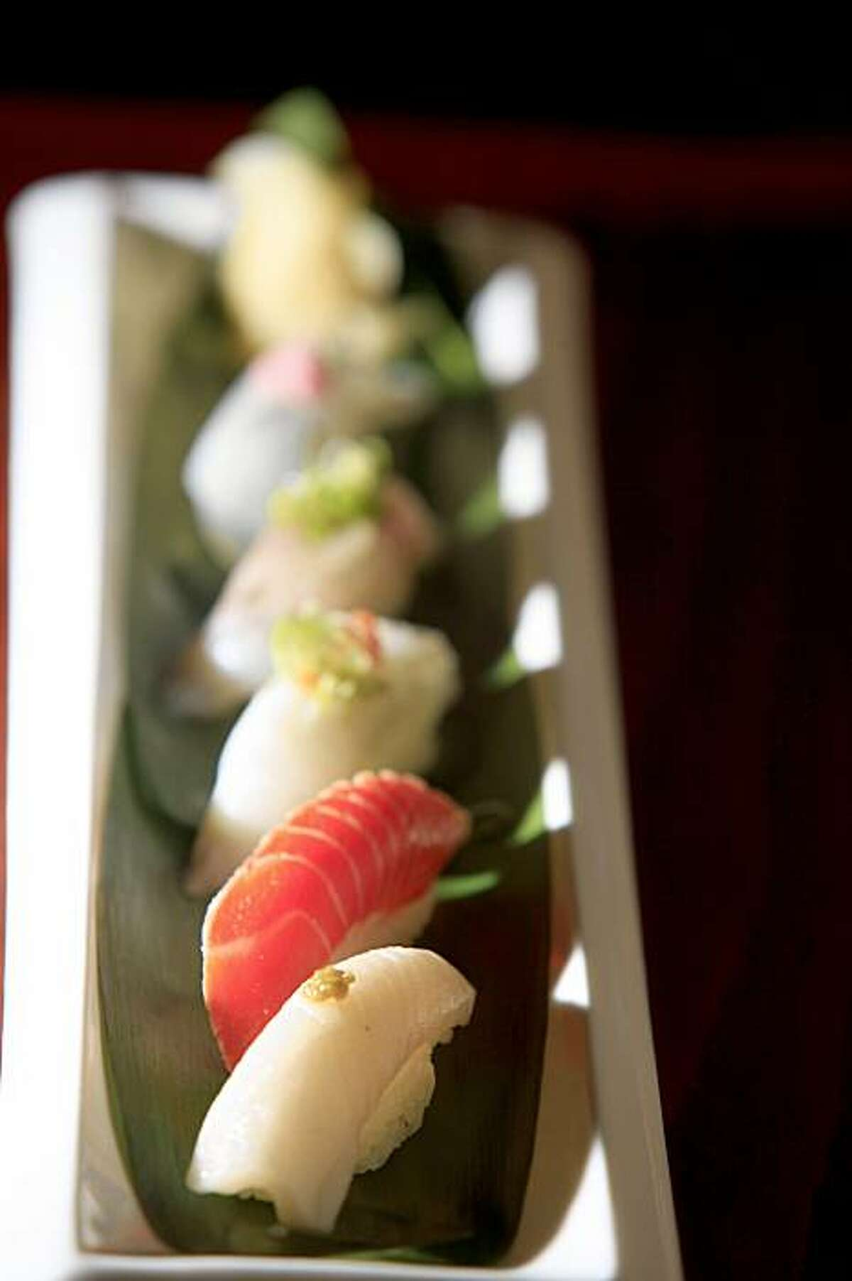 An assortment of sushi is seen at Tsukiji Sushi Bar and Restaurant in Mill Valley, Calif. on Monday November 16, 2009.