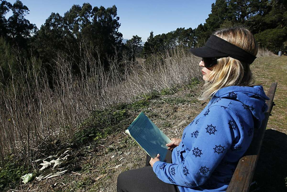 Carol Bent reads on a bench in front of browned shrubs and grass on the Nimitz Way trail in Tilden Park near Berkeley, Calif. on Wednesday, Jan. 11, 2012. Bay Area residents continue to bask in spring-like conditions but forecasters are hoping a rainy pattern may finally return to the region next week.