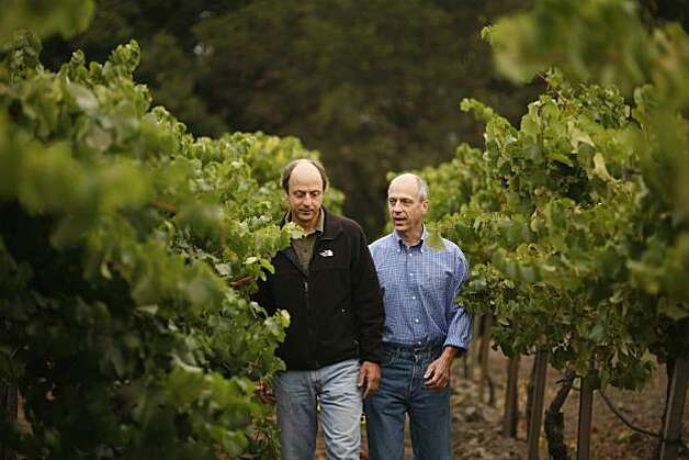Varner Wines, Bob Varner (left) and his twin brother, Jim Varner (right) at Spring Ridge Vineyards in Portola Valley, Calif., on September 10, 2008. Photo: Craig Lee, The Chronicle