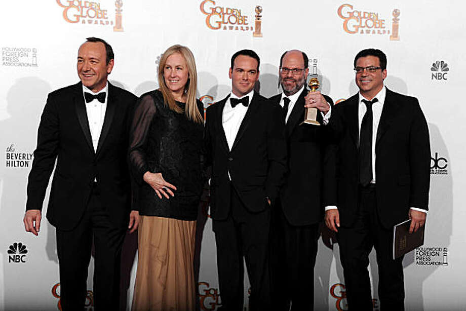 "BEVERLY HILLS, CA - JANUARY 16:  (L-R) Producers Kevin Spacey, Cean Chaffin, David Brunetti, Scott Rudin and Michael DeLuca pose with the award for Best Picture (Drama) for ""The Social Network"" in the press room at the 68th Annual Golden Globe Awards held at The Beverly Hilton hotel on January 16, 2011 in Beverly Hills, California.  (Photo by Kevin Winter/Getty Images) *** Local Caption *** Kevin Spacey;Cean Chaffin;David Brunetti;Scott Rudin;Micahel DeLuca Photo: Kevin Winter, Getty Images"