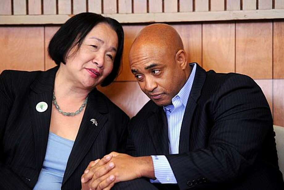 Oakland Police Chief Chief Anthony Batts, a finalist for the top cop job in San Jose, speaks with Oakland Mayor Jean Quan during a Martin Luther King Day event on Monday, Jan. 17, 2011, in Oakland, Calif. Quan said Batts' job search has taken her by surprise. Photo: Noah Berger, Special To The Chronicle