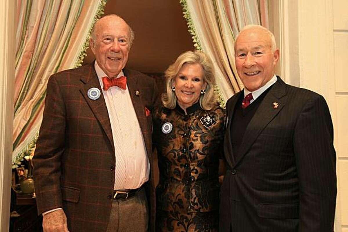 Former Secretary of George Shultz (left) with Dede Wilsey and Ret. Gen. Mike Myatt. Jan. 2011. By Michael Mustacchi.