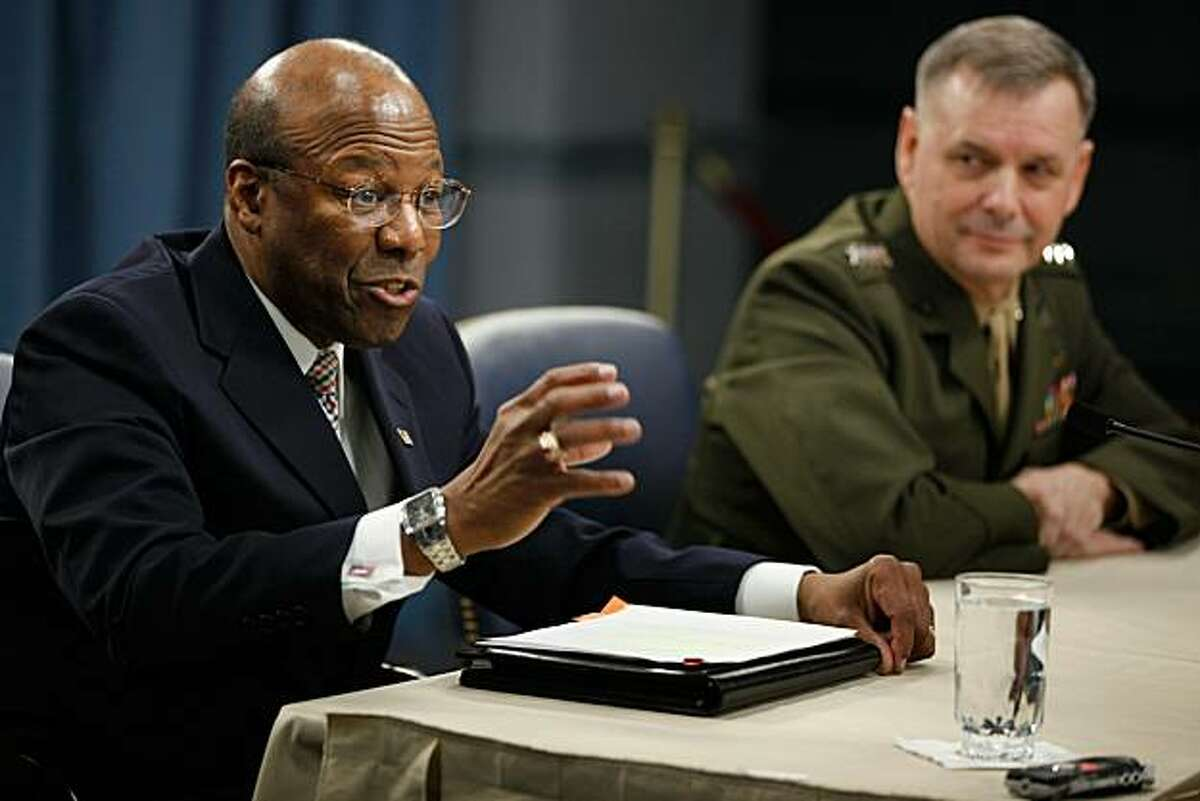WASHINGTON, DC - JANUARY 28: Defense Department Under Secretary of Defense for Personnel and Readiness Dr. Clifford Stanley (L) and Vice Chairman of the Joint Chiefs of Staff Gen. James Cartwright hold a news briefing and update on the Don't Ask Don't Tell repeal implementation at the Pentagon January 28, 2011 in Washington, DC. Stanley and Cartwright were able to present reporters with a clearer picture of an implementation timeline and what the training that soldiers, Marines and sailors will be receiving regarding homosexuals serving openly in the military.