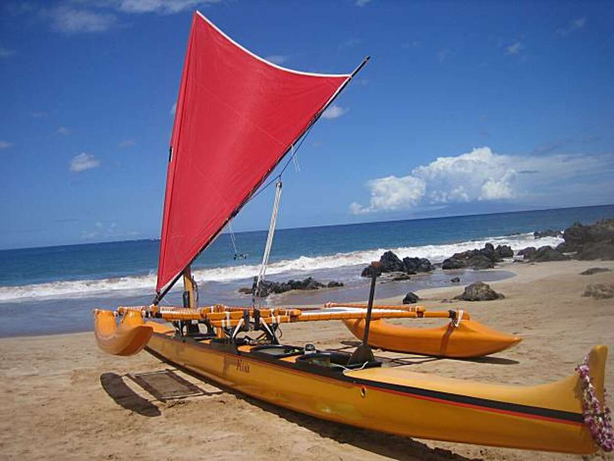 Hawaiian Sailing Canoe Adventures' modern outrigger canoe, Hina, offers two-hour sailing trips from Polo Beach in Wailea, Maui.