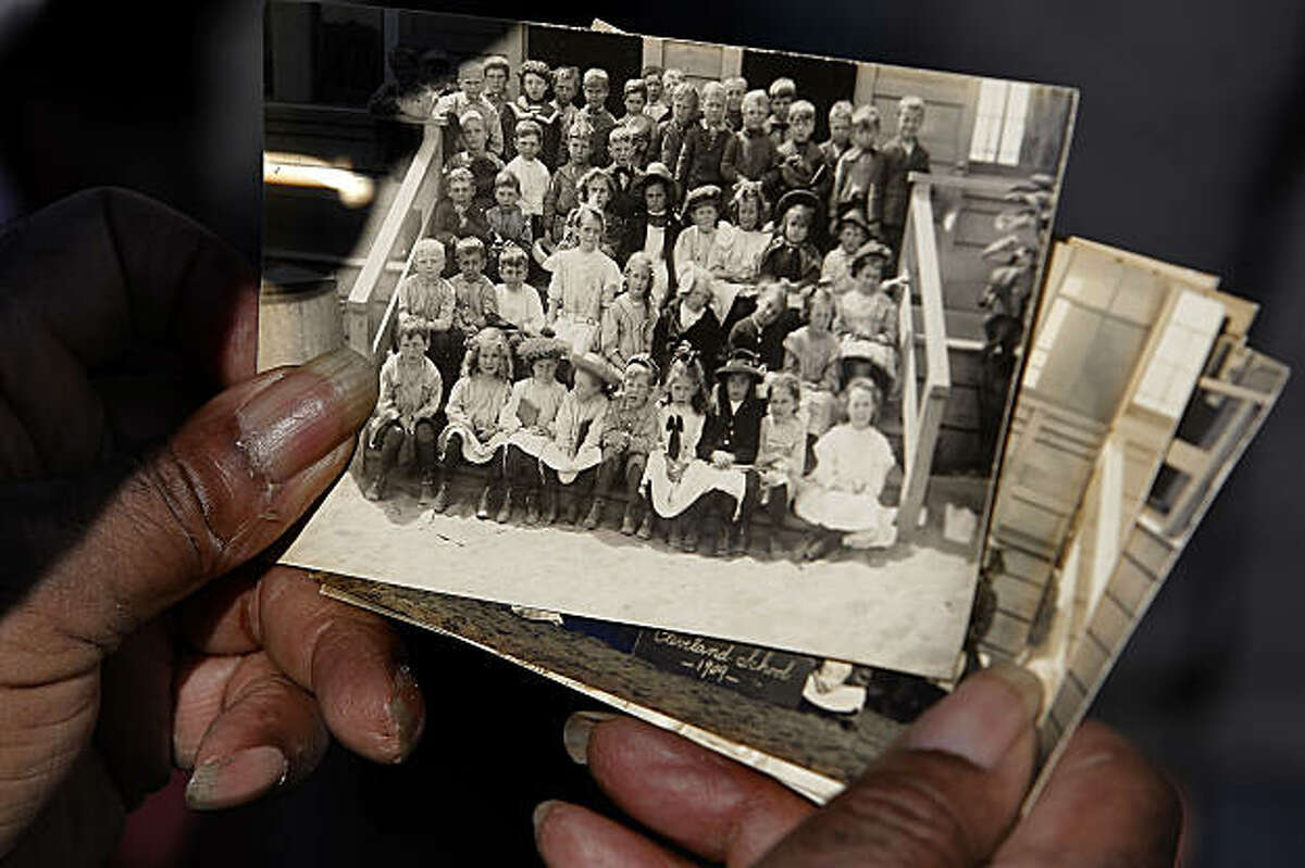 Post cards of Cleveland Elementary students in 1909 were found inside the 100-year-old time calsule at Cleveland Elementary School on Wednesday Jan, 25, 2011, in San Francisco, Ca.