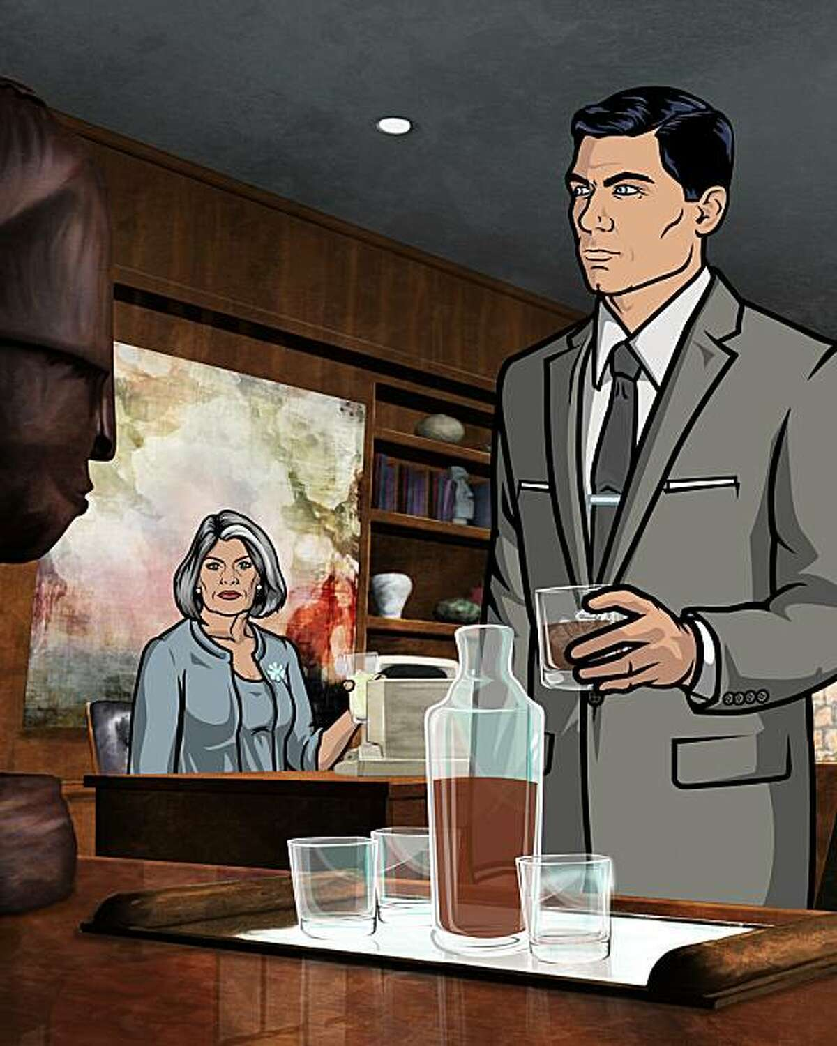 Archer, a new half-hour animated comedy series airing on FX. L-R: Malory Archer and Sterling Archer.