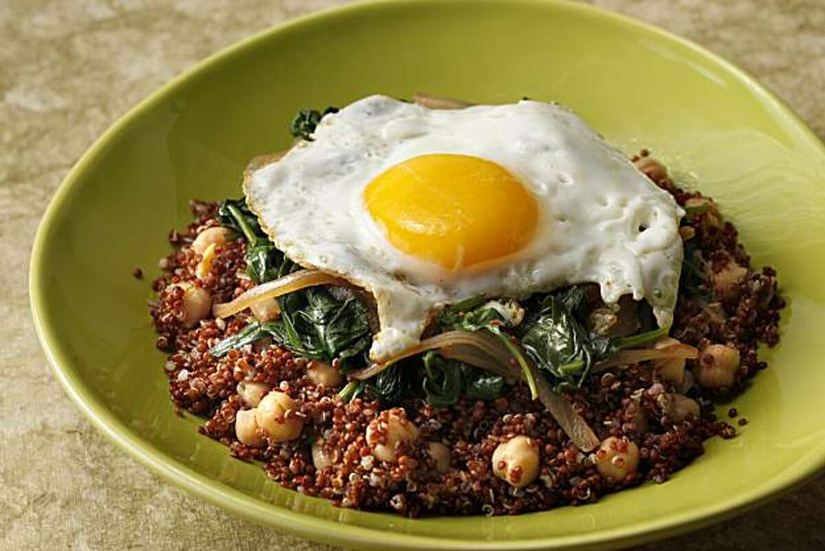 Red Quinoa with Chickpeas, Spinach and Egg in San Francisco, Calif., on January 27, 2010. Food styled by Pailin Chongchitnant.