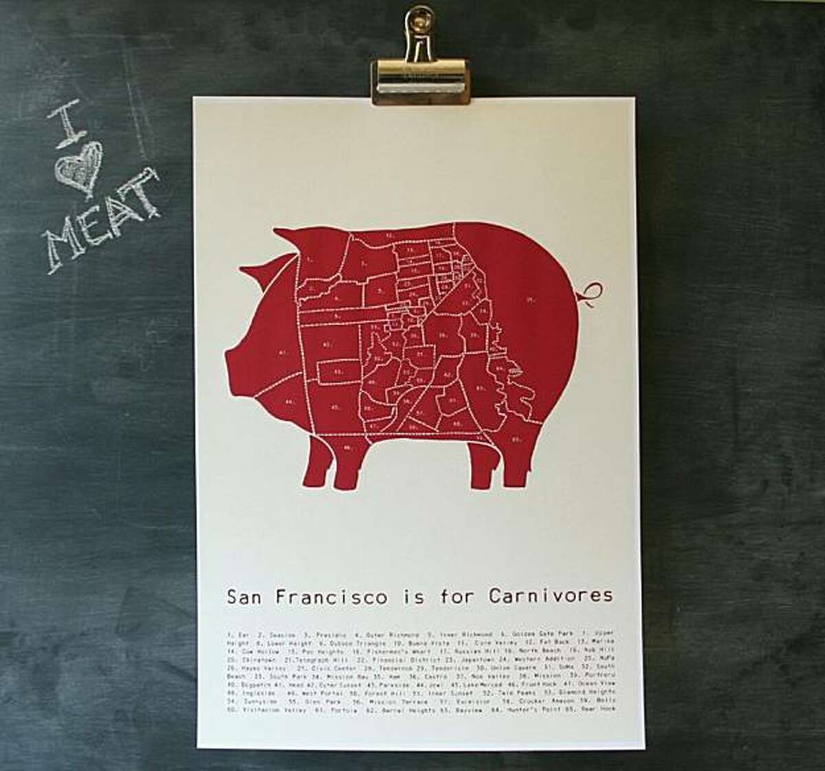 """""""San Francisco is for Carnivores"""" by Alyson Thomas of Drywell Art."""