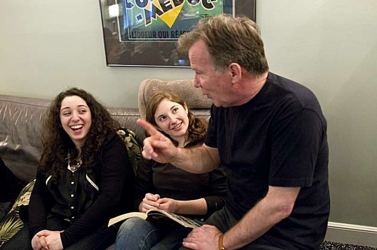 Alexis Colett and Shelby Geitner talk with Eric Deacon (left to right) while attending a workshop where Deacon and other theater professionals helped them prepare for college theater program auditions in Burlingame, Calif., on Saturday, January 8, 2011.