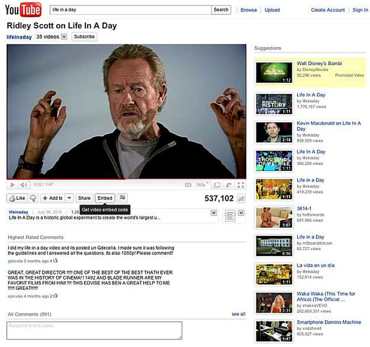 Screen shot of the Life in a day project posted on Youtube.com. Life in a day was directed by Kevin Macdonald and produced by Ridley Scott, who is shown in this video about the project.