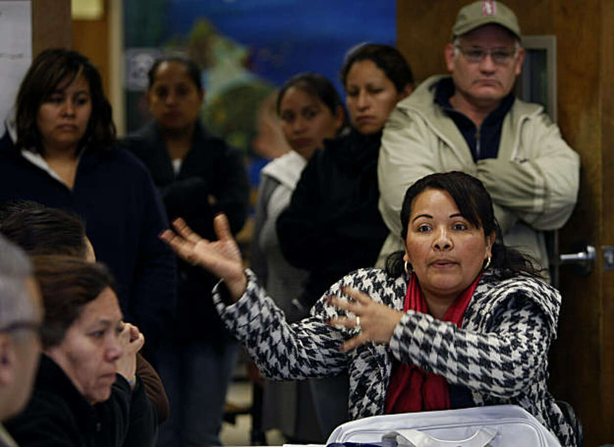 Maribel Duran-Mejia, who's son is a 4th-grader at Bryant Elementary School, speaks during a parents' meeting with school officials in San Francisco, Calif., on Wednesday, Jan. 12, 2011, to discuss dramatic changes in teacher staffing scheduled to take place in the Fall.
