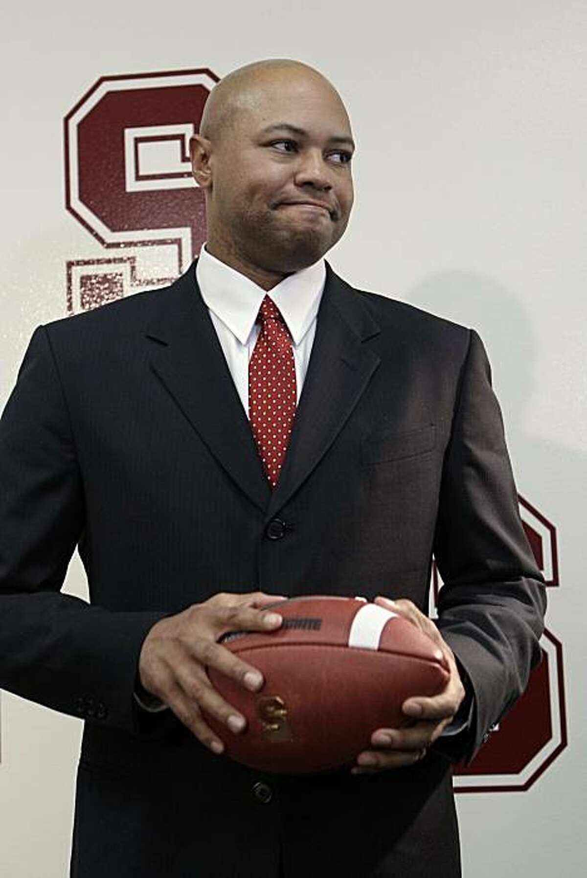 New Stanford football coach David Shaw poses for a photograph after a news conference in Stanford, Calif., Thursday, Jan. 13, 2011. Shaw replaces Jim Harbaugh, who left to become coach of the San Francisco 49ers.