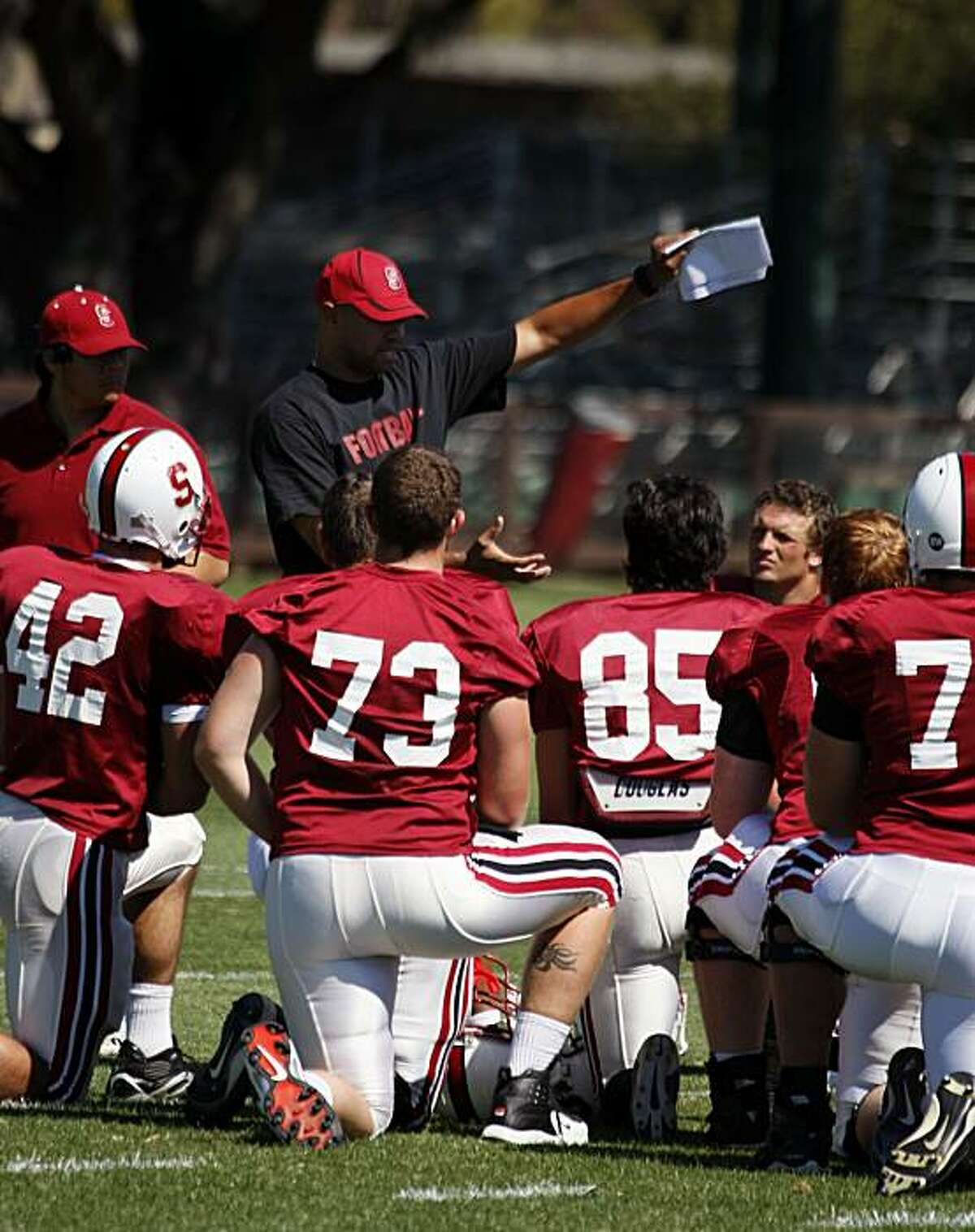 Stanford Assistant coach and former player David Shaw gives the offence instructions during team practice. Stanford's 2007 football team prepares for their first conference game Sept 1st when they play UCLA. August 14, 2007.