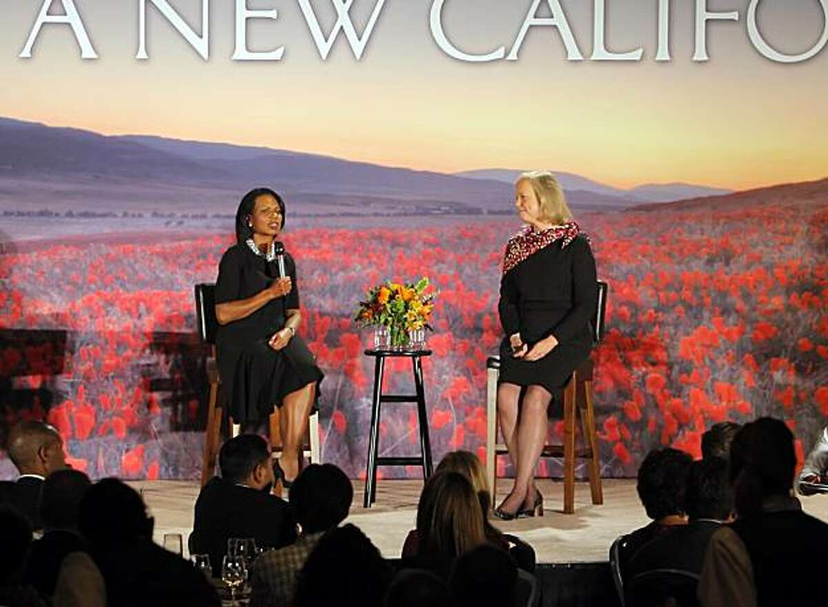 Meg Whitman and Condoleezza Rice talk to a crowd of donors at a fundraiser at the Hyatt Regency in Burlingame, Calif., on Tuesday, September 21, 2010.