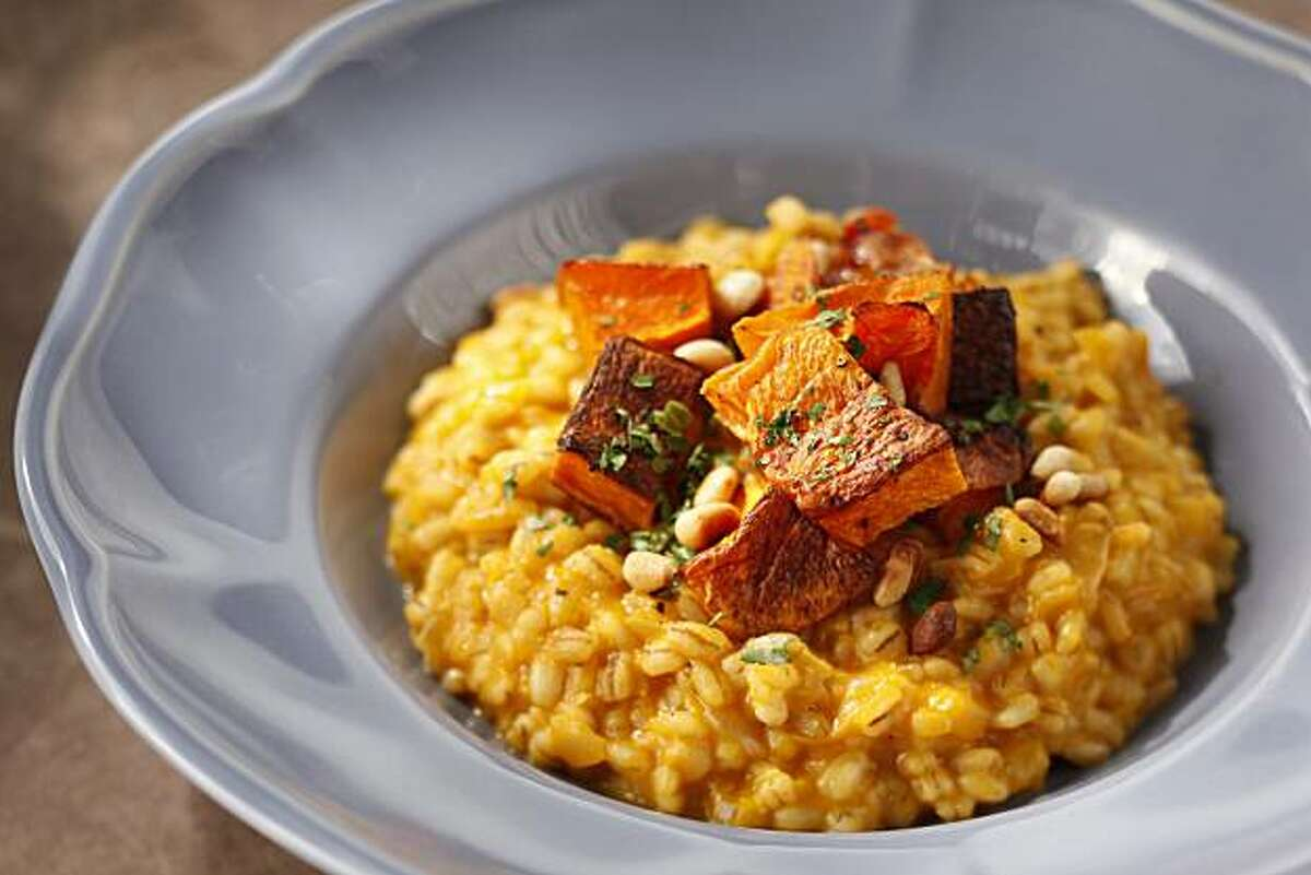 Vegetarian Main Course: Barley Risotto With Roasted Winter Squash/ Photos by Craig Lee / Special to The Chronicle; styling by Sophie Brickman