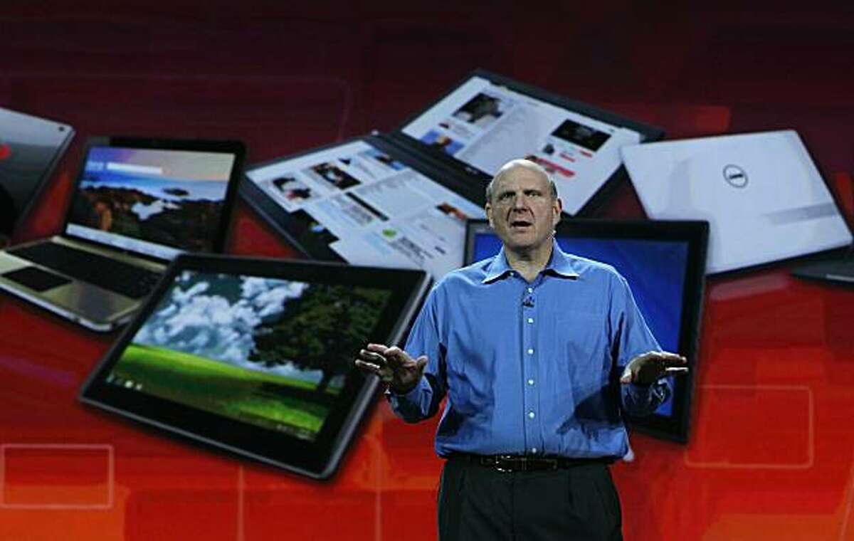 LAS VEGAS - JANUARY 05: Microsoft CEO Steve Ballmer delivers a keynote address at the 2011 International Consumer Electronics Show at the Las Vegas Hilton January 5, 2011 in Las Vegas, Nevada. CES, the world's largest annual consumer technology tradeshow, runs from January 6-9 and is expected to feature 2,700 exhibitors showing off their latest products and services to about 126,000 attendees.