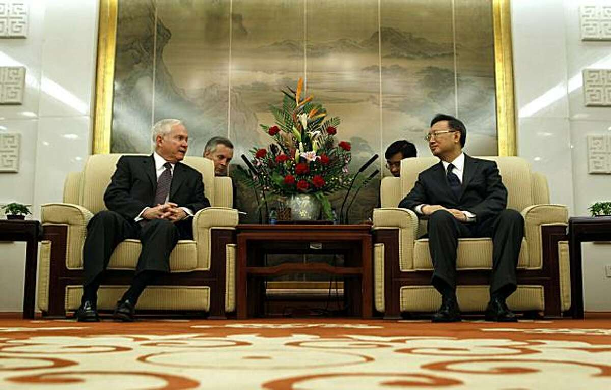 BEIJING, CHINA - JANUARY 11: U.S. Secretary of Defense Robert Gates (L) and China's Minister of Foreign Affairs Yang Jiechi meet at the Ministry of Foreign Affairs on January 11, 2011 in Beijing, China. Gates is holding talks with China's political and military leaders during the visit which comes ahead of second summit between President Obama and China's President Hu Jintao, which is scheduled to start on January 18.