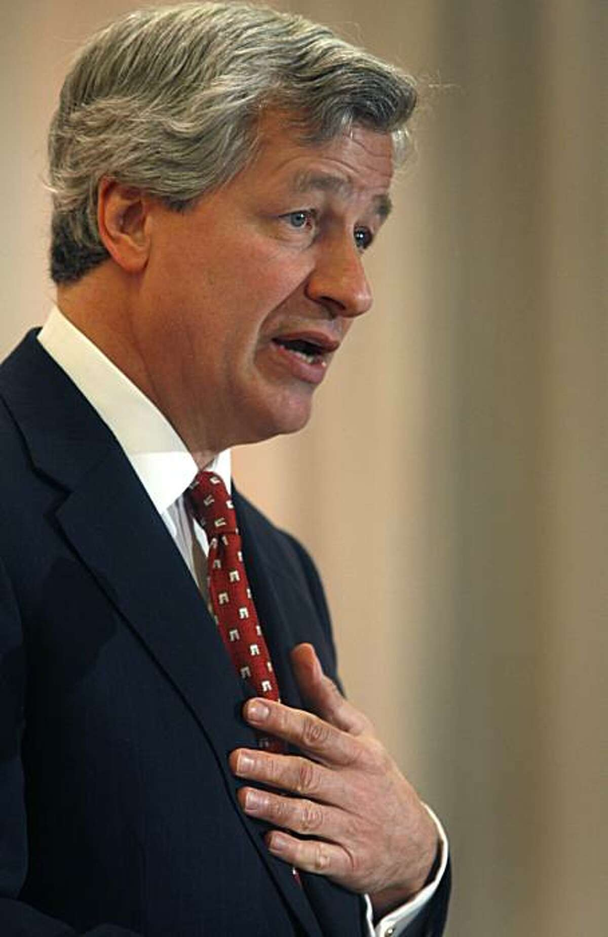 Jamie Dimon, chairman and CEO of JP Morgan Chase, addresses a gathering of business and civic leaders at an economic summit in Stanford, Calif., on Friday, March 12, 2010.