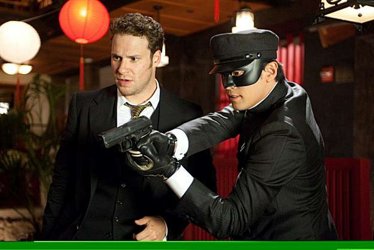 Seth Rogen (left) and Jay Chou in Columbia Pictures' action film, THE GREEN HORNET.