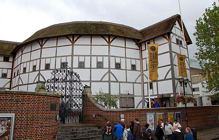 The thatch-roofed, open-air Globe theater presents Shakespearean plays much as the writer intended — under the sky with no amplification. Photo: Cameron Hewitt