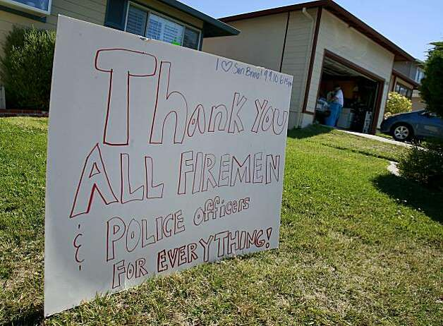 On Claremont Drive, a sign thanking firemen and police officers. First responders to the San Bruno, Calif. pipeline explosion talked about their experiences Tuesday September 14, 2010. Photo: Brant Ward, The Chronicle