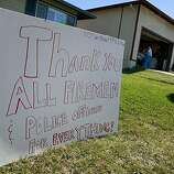 On Claremont Drive, a sign thanking firemen and police officers. First responders to the San Bruno, Calif. pipeline explosion talked about their experiences Tuesday September 14, 2010.