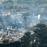 A view of the wreckage in San Bruno is seen on September 10, 2010. Many people had to evacuate their home after a massive natural gas pipeline explosion Thursday night.