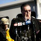 San Bruno Mayor Jim Ruane speaks at a press conference September 10, 2010 in San Bruno, California. A massive explosion rocked a neighborhood near San Francisco International Airport, destroying 53 homes, killing at least 4 people, and injuring more than 50.