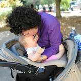 Margarita Astudillo kisses her baby outside the Veterans Memorial Recreation Center in San Bruno on Friday September 10, 2010. She had to evacuate the home she was staying at after a massive natural gas pipeline explosion Thursday night.