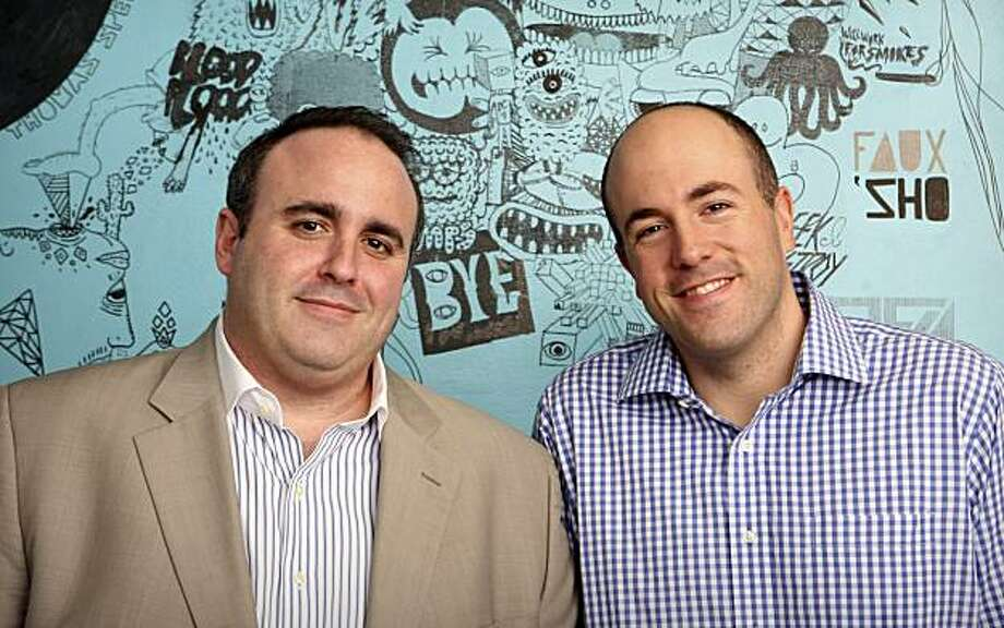 FILE - This photo provided by MySpace on Tuesday, March 9, 2010 shows Jason Hirschhorn, left, and Mike Jones, right, at the company's headquarters in Beverly Hills, Calif. After just four months on the job, co-president Jason Hirschhorn is leaving the struggling social networking site, MySpace. The other co-president, Mike Jones, will now lead the company, according to a report Thursday, June 17, 2010. Photo: MySpace, File, AP
