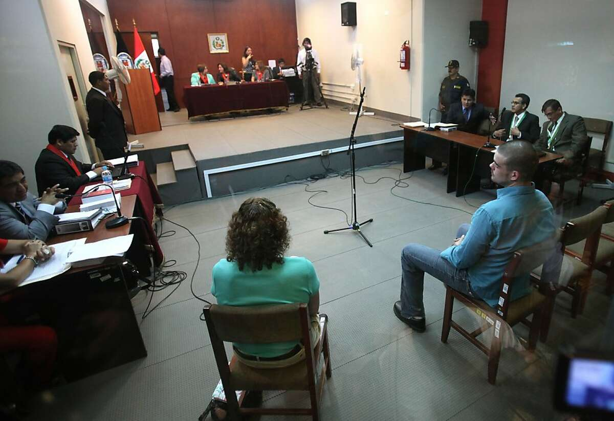 Joran van der Sloot, front right, sits in court for the continuation of his murder trial at San Pedro prison in Lima, Peru, Wednesday Jan. 11, 2012. The Dutch citizen sought and received more time to decide how to plead when his trial opened on Jan. 6 for the murder of 21-year-old Stephany Flores on May 30, 2010.