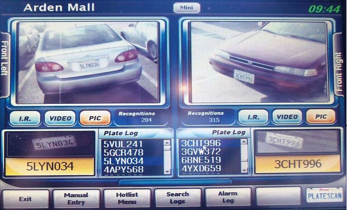 Security guards at the Arden Fair mall in Sacramento see this visual interface after digitally scanning a license plate.