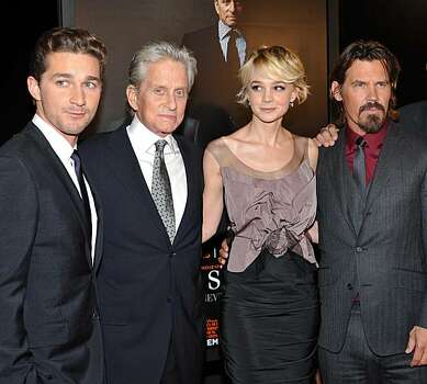 "Actors, from left, Shia LaBeouf, Michael Douglas, Carey Mulligan and Josh Brolin attend the premiere of ""Wall Street: Money Never Sleeps"" at the Ziegfeld Theatre on Monday, Sept. 20, 2010 in New York. Photo: Evan Agostini, AP"