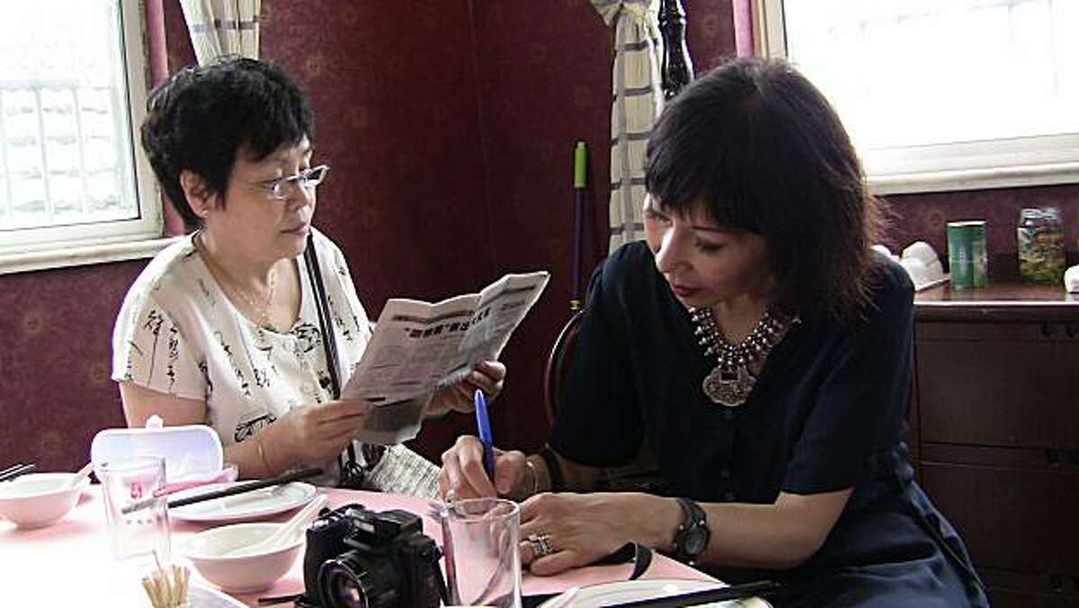 Author Amy Tan with her half-sister Jindo Wong in Chongming, China, during the making of the documentary,