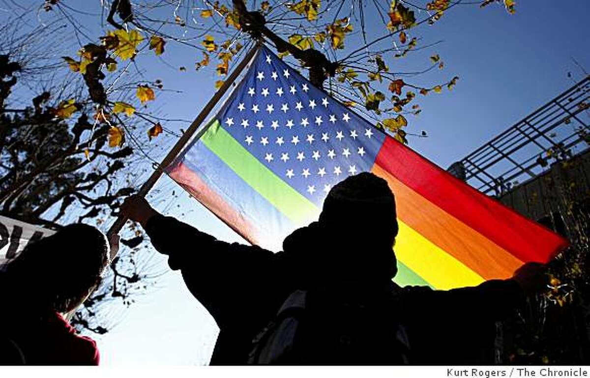 Ramon Quintro, 31, marched from the Sproul Plaza to Berkeley City Hall during a Day Without a Gay rally on Wednesday, December 10, 2008 in Berkeley, Calif.